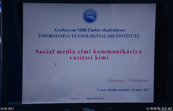 Institue of Information Technology of ANAS. A scientific seminar of Department No.3