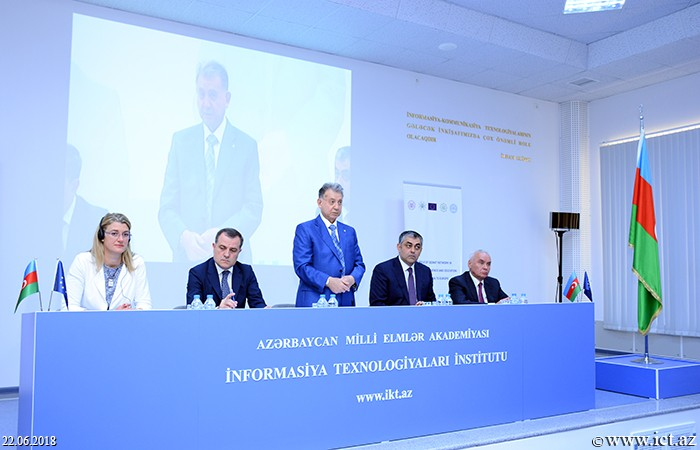 """AMEA İnformasiya Texnologiyaları İnstitutu. """"Azərbaycan elm və təhsilinin Avropaya inteqrasiya olunmasında GEANT şəbəkəsinin rolu"""" mövzusunda toplantı keçirildi"""