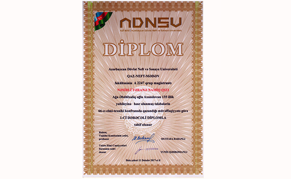 The Colleague of the institute was awarded diploma