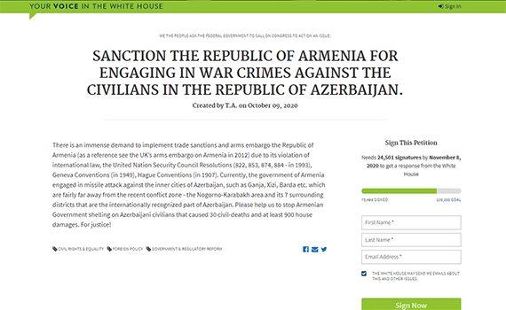 İnstitutun çoxsaylı əməkdaşları ABŞ-ın Ermənistana sanksiya tətbiqi ilə bağlı petisiyanı imzalayıblar