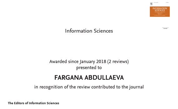 Ведущая научная сотрудница института награждена сертификатом за деятельность в области научной экспертизы