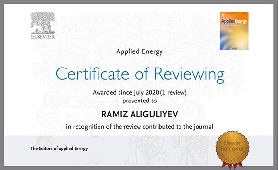AMEA-nın müxbir üzvü nüfuzlu jurnalın rəyçi sertifikatına layiq görülüb