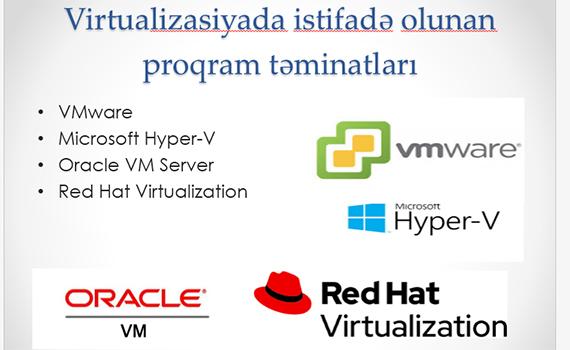 Virtualizasiyada istifadə olunan proqram təminatları araşdırılır
