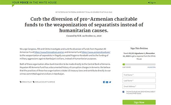 İnstitutun əməkdaşları Ağ Evin rəsmi saytında daha bir petisiyanı imzalayıblar