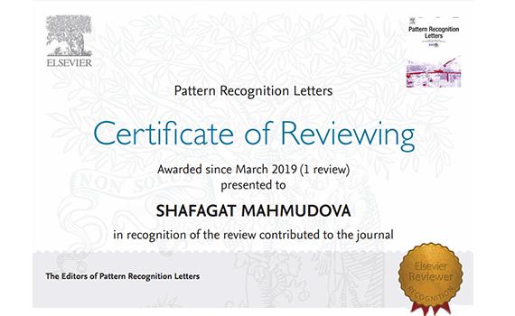 """İnstitutun əməkdaşı """"Elsevier"""" bazasına daxil olan jurnalın rəyçi sertifikatına layiq görülüb"""