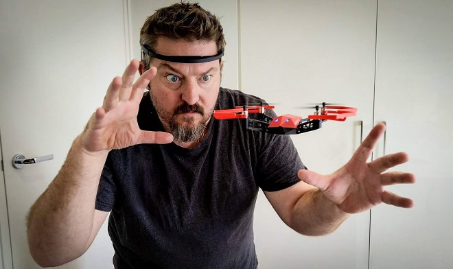 A small quadrocopter UDrone can be controlled by the power of thought