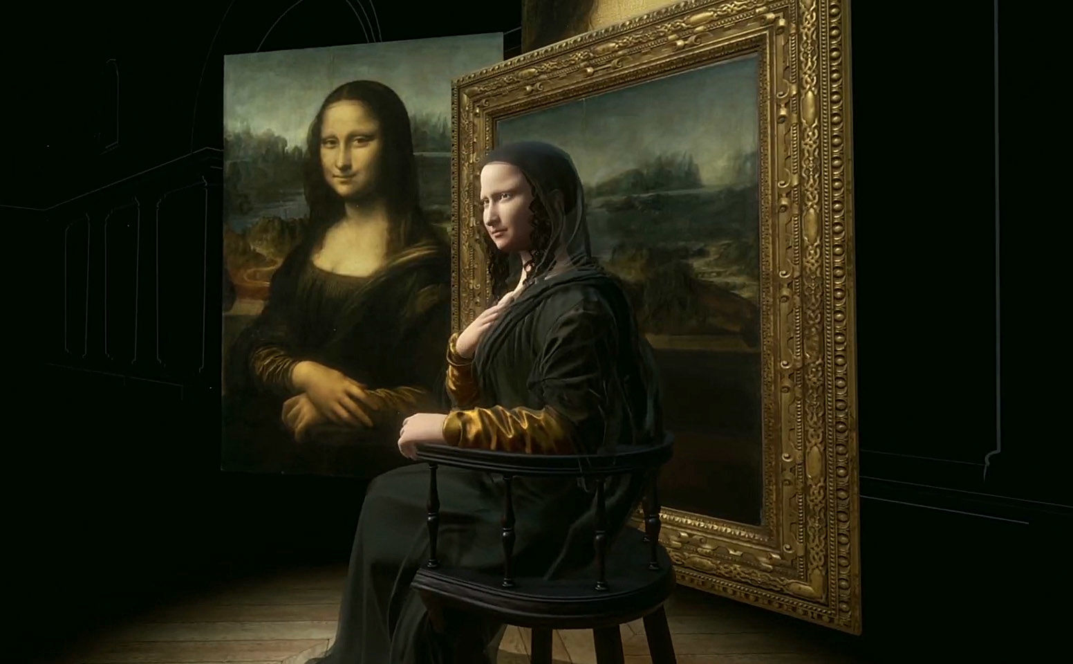 In the Louvre put up a 3D copy of Mona Lisa sitting on a chair