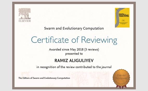 İnstitutun şöbə müdiri elmi ekspertiza fəaliyyətinə görə sertifikatlara layiq görülüb