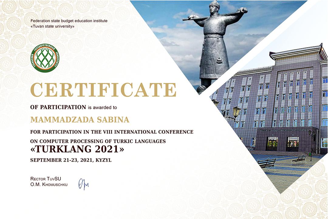 Azərbaycanlı tədqiqatçı beynəlxalq konfransda iştirakına görə sertifikata layiq görülüb