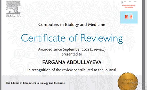 İnstitutun aparıcı elmi işçisi Fərqanə Abdullayeva impakt faktorlu jurnalın rəyçi sertifikatına layiq görülüb